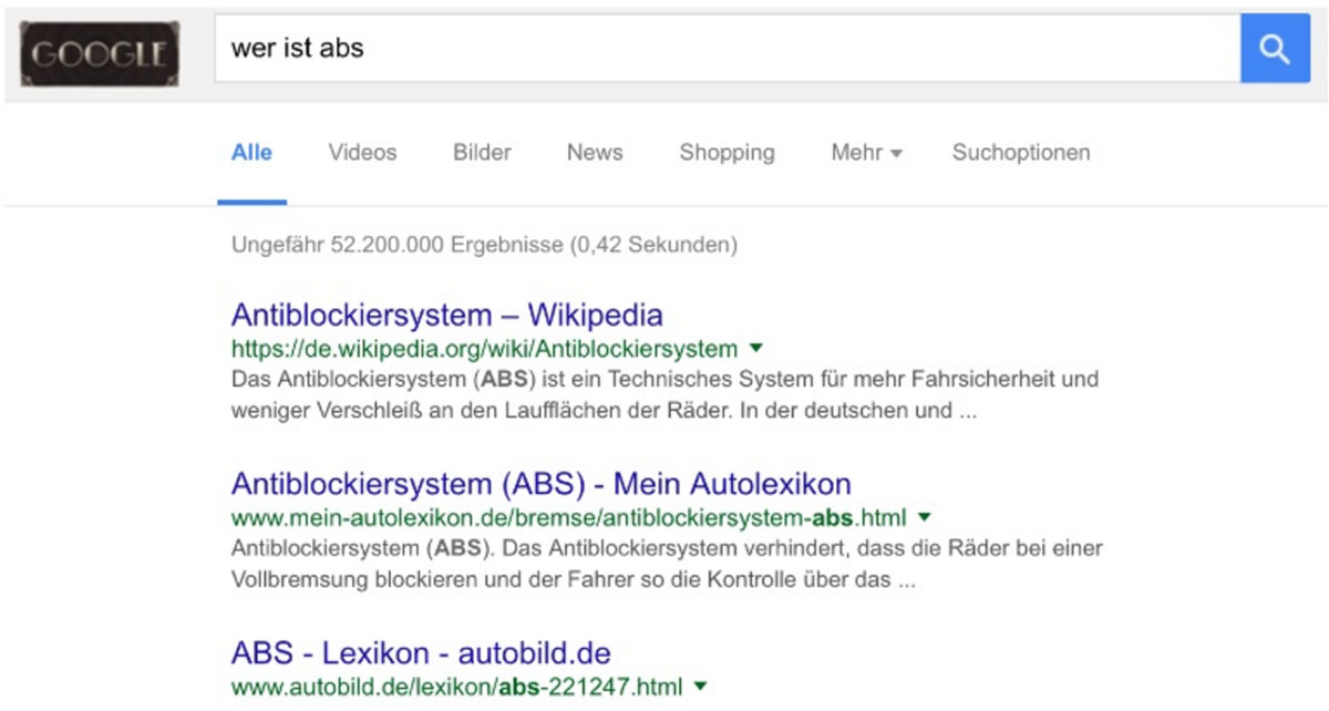 """Suchergebnisse zur Suchanfrage """"Wer ist Abs"""" vor RankBrain"""