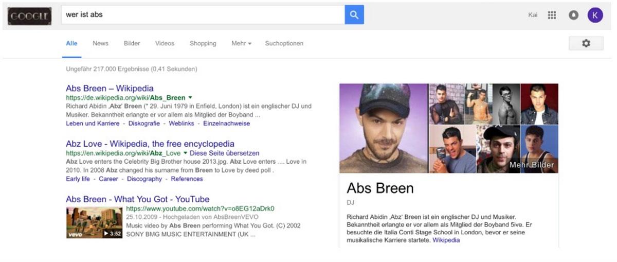 """Suchergebnisse zur Suchanfrage """"Wer ist Abs"""" nach RankBrain"""