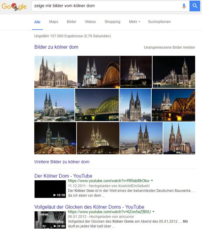 """Suchergebnis zur Suchanfrage: """"Zeige mir Bilder vom Kölner Dom"""""""