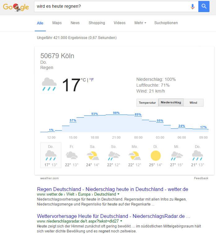 """Suchergebnis zur Suchanfrage """"Wird es heute regnen?"""""""