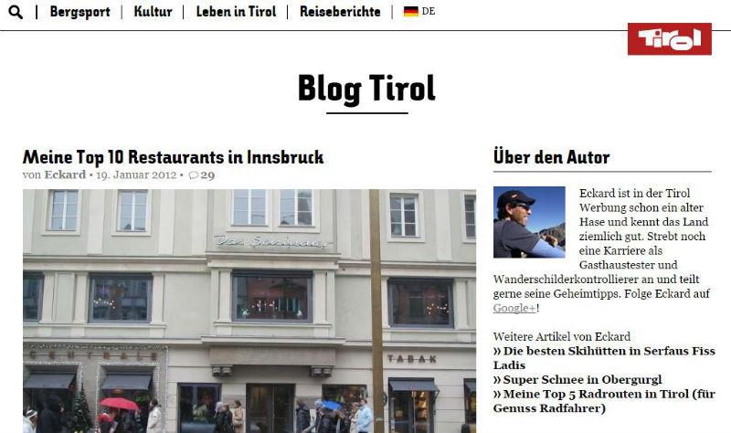 Blogartikel zu den besten Restaurants in Innsbruck