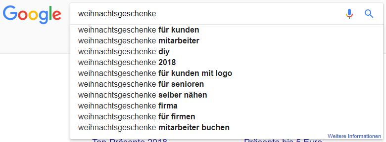 Google Suggest für Weihnachtsgeschenke