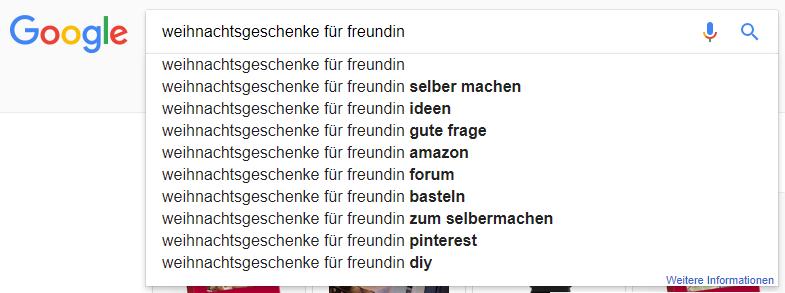 Google Suggest für Weihnachtsgeschenke für Freundin