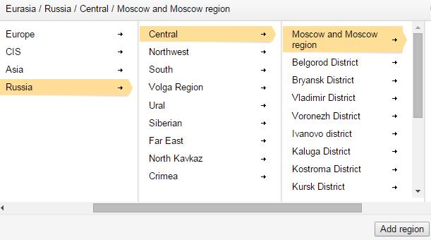 Yandex.Webmaster Regionen