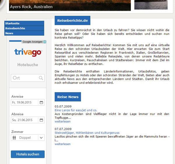 Display Anzeige von Trivago