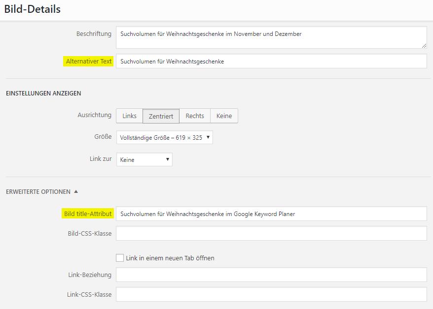 Alt-Tag und Title-Tag in WordPress pflegen