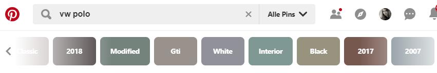 Mit Pinterest weitere Keyword-Kombinationen finden