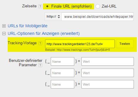 Feld für Ziel URL