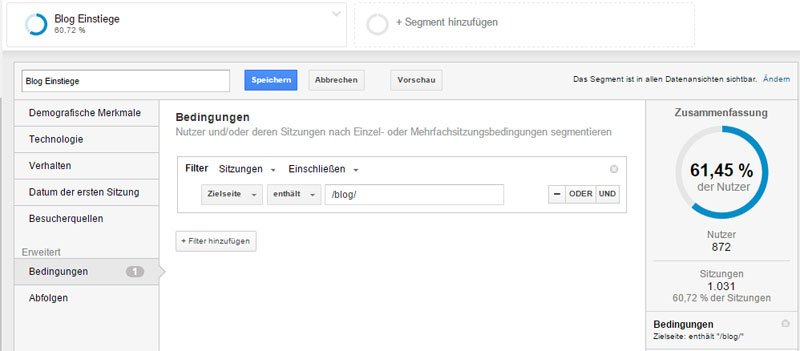 Benutzerdefinierter Segment in Google Analytics anlegen