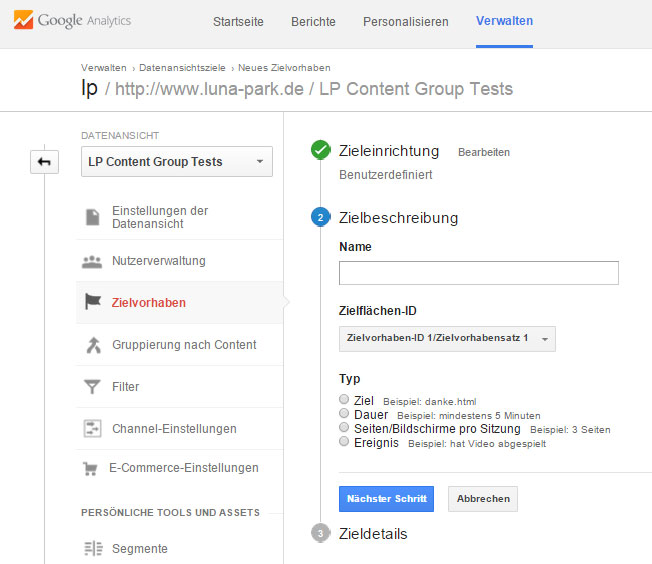 Ziele anlegen in Google Analytics