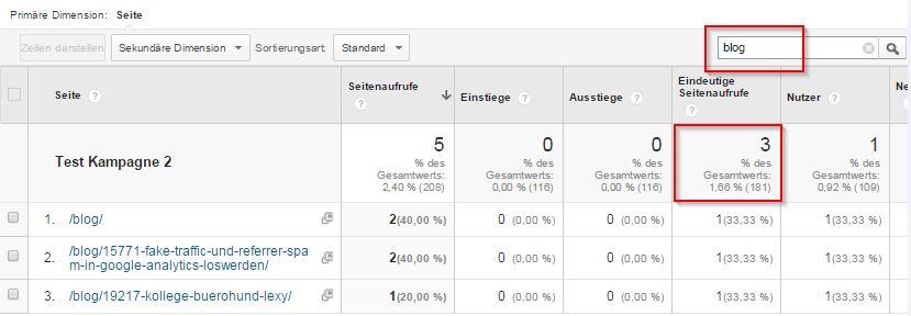 Seitenanalyse und Seitenfilter