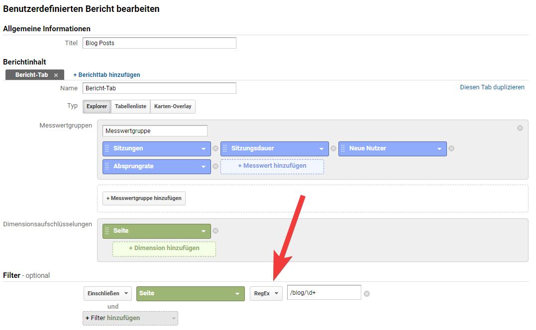 regex in google analytics custom report