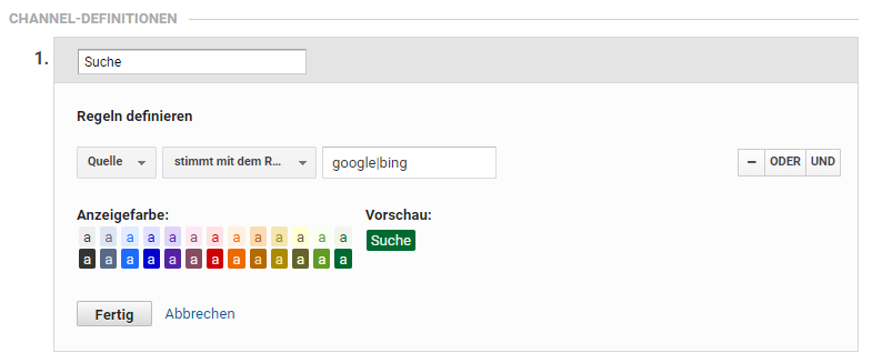 channel grouping regex