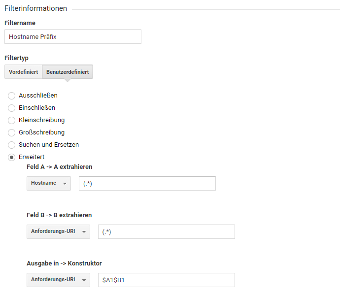 filter regex in Google Analytics