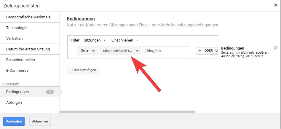 zielgruppe regex in Google Analytics