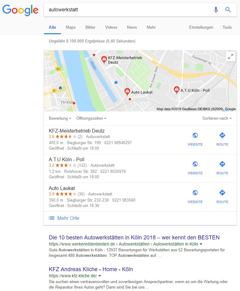 Google Suche in Köln, 23.10.2018