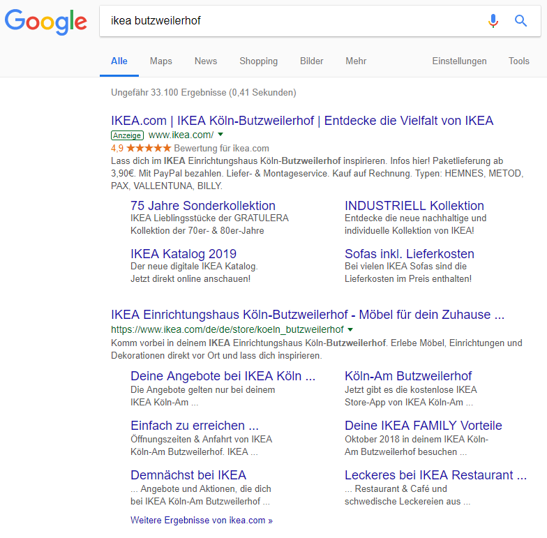 Google Suche, 23.10.2018