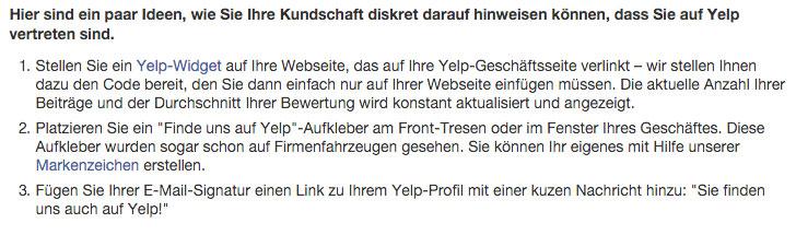 Yelp - Hinweise für Bewertungen