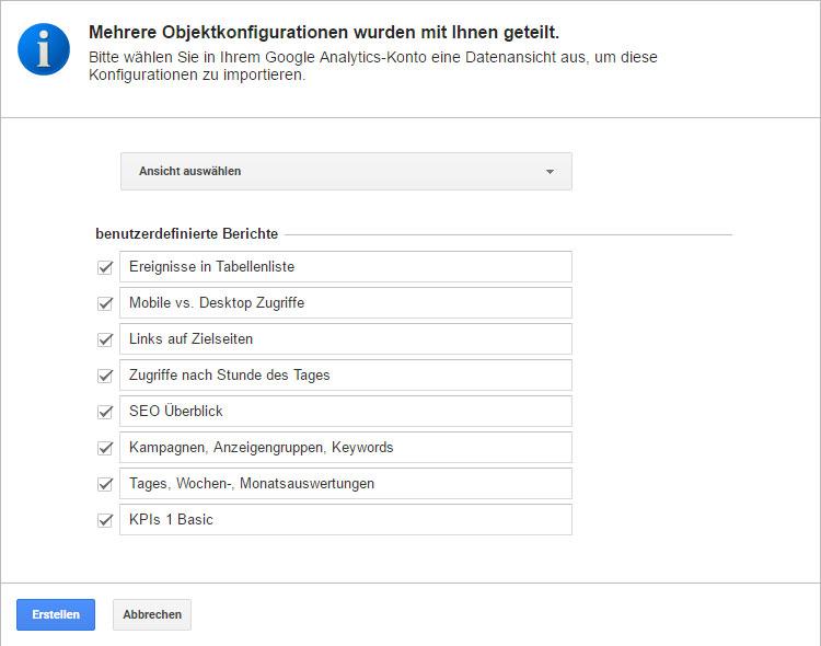 Dashboards und Berichte in Google Analytics importieren