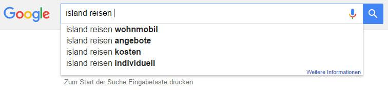 """Google Suggest: Vorschläge zu """"Island Reisen"""""""