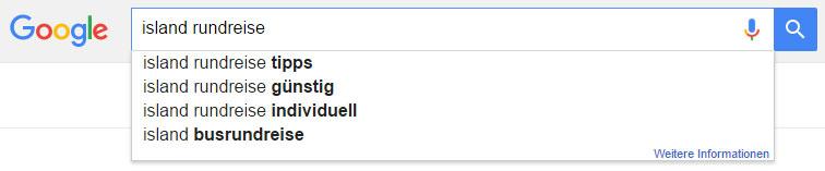 """Google Suggest: Vorschläge zu """"Island Rundreise"""""""