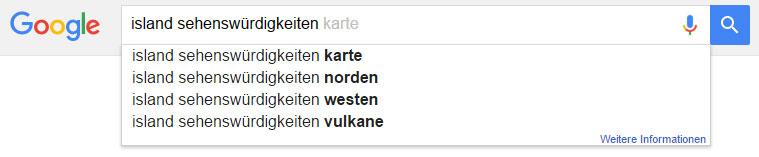 """Google Suggest: Vorschläge zu """"Island Sehenswürdigkeiten"""""""