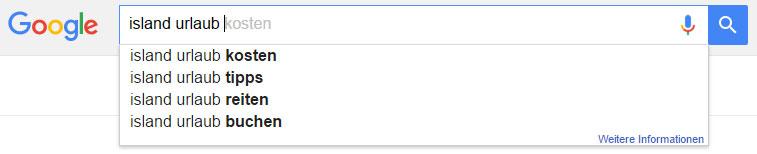 """Google Suggest: Vorschläge zu """"Island Urlaub"""""""