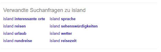 """Verwandte Suchanfragen zu """"Island"""""""