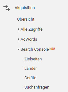 Berichte der Google Search Console in Google Analytics
