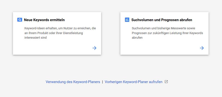 Funktionen des Google Keyword Planers