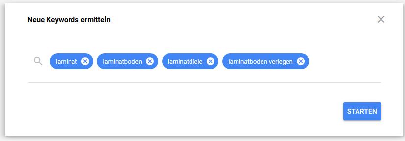 Keywords in den Suchschlitz eingeben
