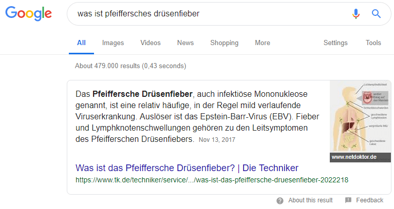 Beispiel: Featured Snippet in der Desktop-Ansicht