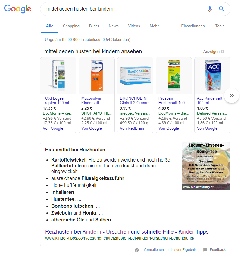 Suchergebnis mit Shopping Ads und Listen-Featured Snippet