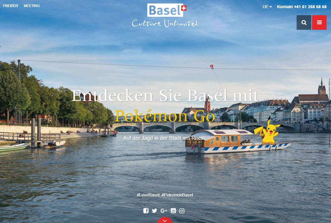Auf der Website von Basel Tourismus wurde eine Landingpage zum Thema Pokémon Go erstellt