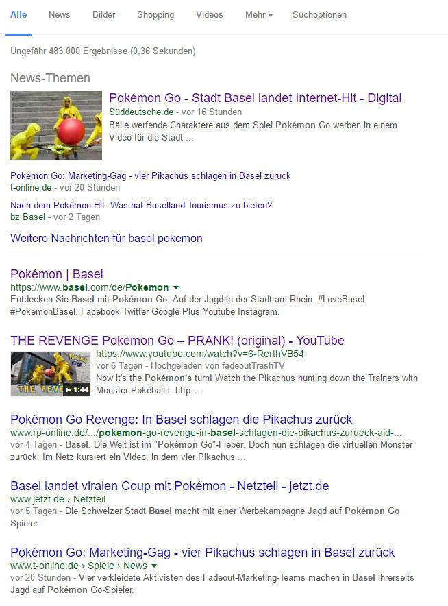 """""""Basel Pkemon"""" in den Google Suchergebnissen"""