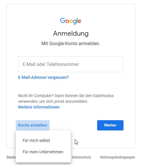 Neues Google Konto erstellen
