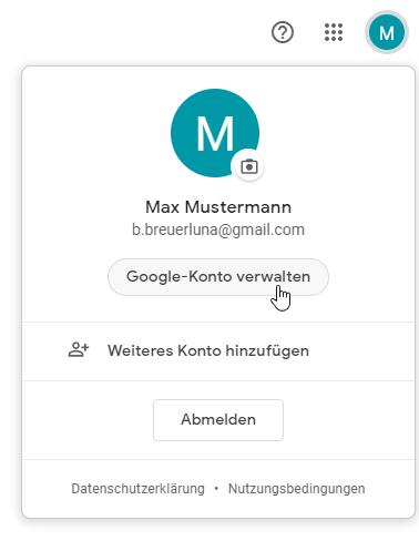 Google Konto verwalten