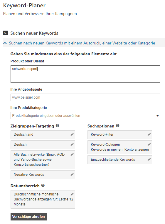 Der Bing Keyword Planer ist von der Handhabung dem alten AdWords Keyword Planer sehr ähnlich
