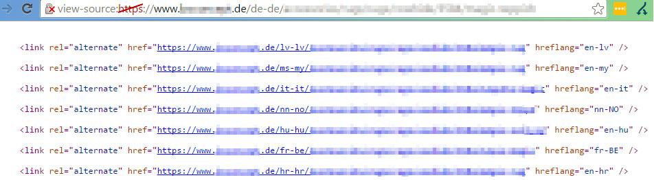 hreflang-Angaben auf der de-Domain