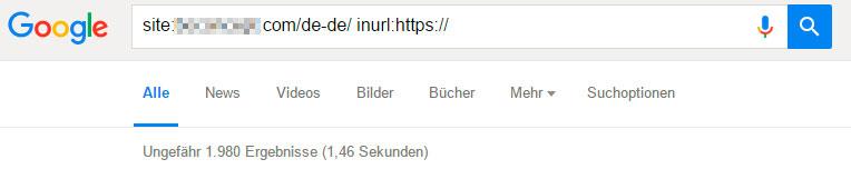 Google Site Abfrage der https-Seiten
