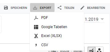 Personalisierten Google Analytics Bericht exportieren