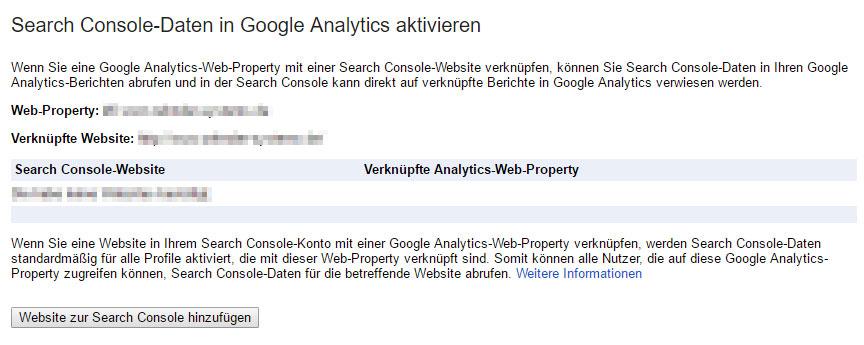 Auswahl der Website, mit der die Proberty in Google Analytics verknüpft werden soll