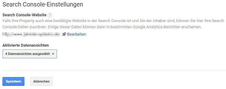 Verknüpfung der Search Console mit Google Analytics