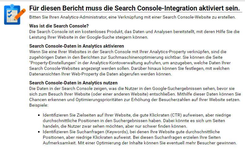 Verknüpfung mit der Search-Konsole über den Suchanfragen-Bericht