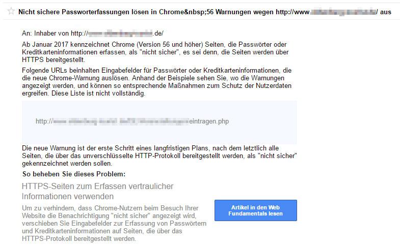 Google Search Console Fehlermeldung: Nicht sichere Passworterfassungen lösen in Chrome 56 Warnungen aus