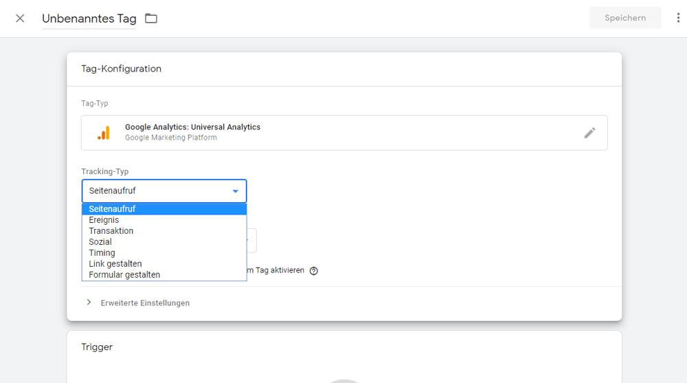 Tracking-Typ auswählen