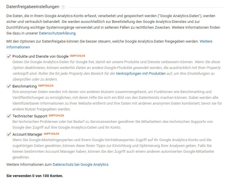Datenfreigabe bei Google Analytics