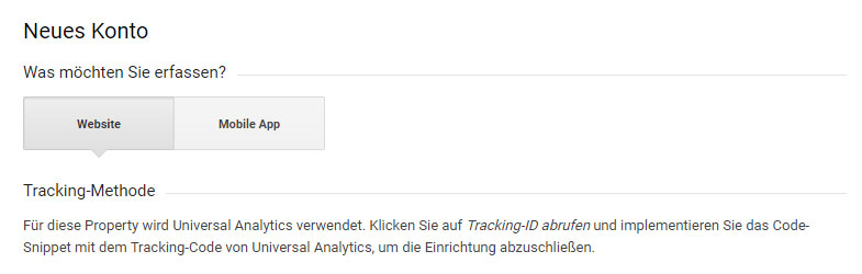 Neues Google Analytics Konto