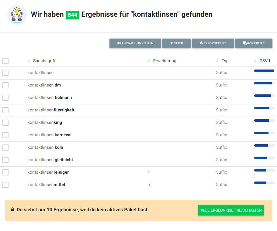 Keyword-Liste mit verwandten Suchbegriffen in HyperSuggest