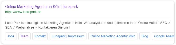 Suchergebnis mit Sitelinks Mobil